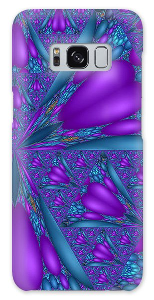 Purple Mixed Fractal Flower Galaxy Case
