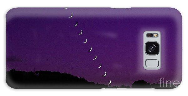 Purple Moon Setting In West Galaxy Case