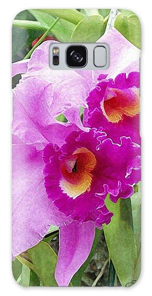 Purple Cattleya Orchids Galaxy Case