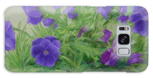 Purple Pansies Colorful Original Oil Painting Flower Garden Art  Galaxy Case