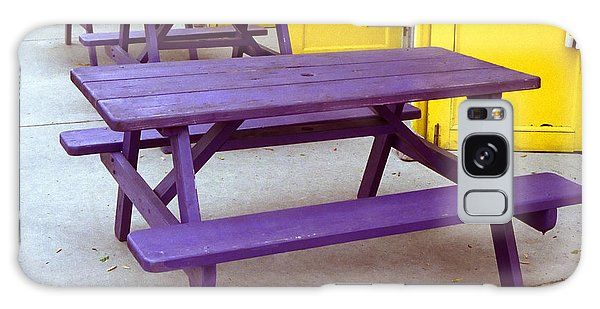 Purple Picnic Tables Yellow Doors Galaxy Case