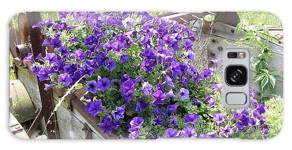 Purple Wave Petunias In Rusty Horse Drawn Spreader Galaxy Case