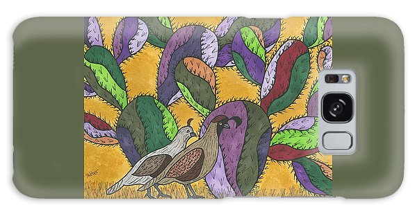 Quail And Prickly Pear Cactus Galaxy Case by Susie Weber