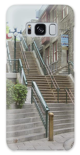 quaint  street scene  photograph THE BREAKNECK STAIRS of QUEBEC CITY   Galaxy Case