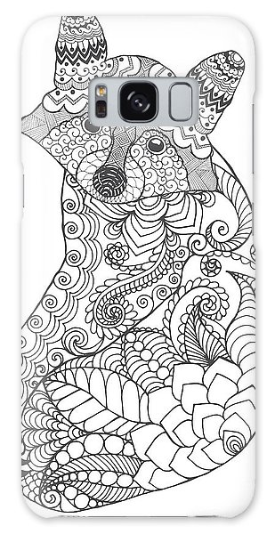 White Galaxy Case - Raccoon. Black White Hand Drawn Doodle by Palomita