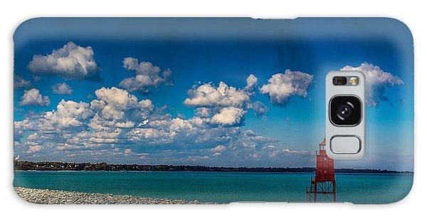 Racine Harbor Lighthouse Galaxy Case by Randy Scherkenbach