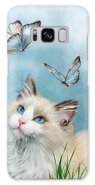 Galaxy Case featuring the mixed media Ragdoll Kitty And Butterflies by Carol Cavalaris