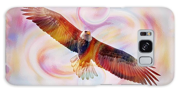 Rainbow Flying Eagle Watercolor Painting Galaxy Case