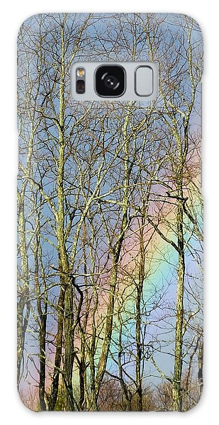 Galaxy Case featuring the photograph Rainbow Hiding Behind The Trees by Kristen Fox