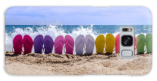 Rainbow Of Flip Flops On The Beach Galaxy Case