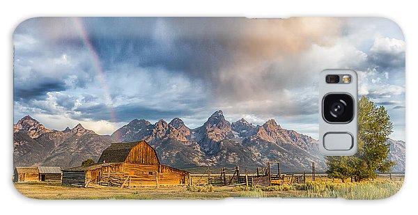 Rainbow On Moulton Barn - Horizontal - Grand Teton National Park Galaxy Case by Andres Leon