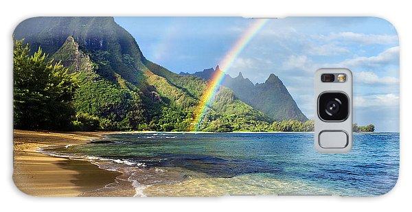 Rainbow Over Haena Beach Galaxy Case