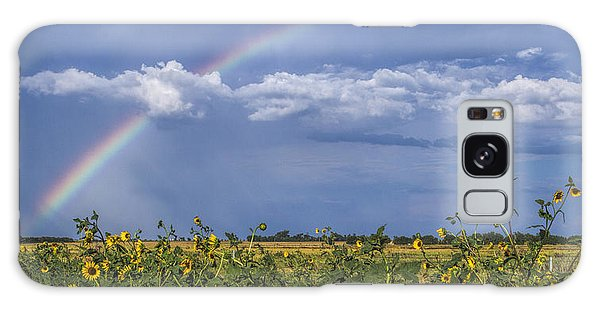 Rainbow Over Sunflowers Galaxy Case