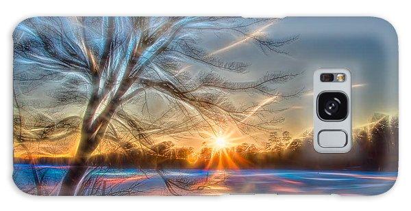 Rainbow Sunset On Snow Covered Lake Galaxy Case