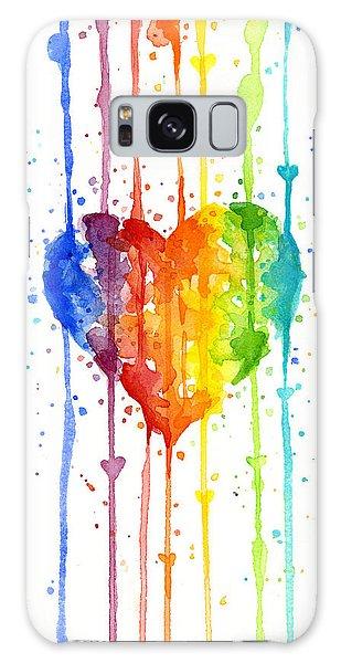 Rainbow Galaxy Case - Rainbow Watercolor Heart by Olga Shvartsur