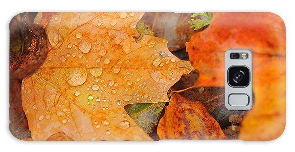 Raindrops On Fallen Maple Leaf Galaxy Case