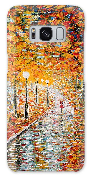 Galaxy Case featuring the painting Rainy Autumn Day Palette Knife Original by Georgeta  Blanaru