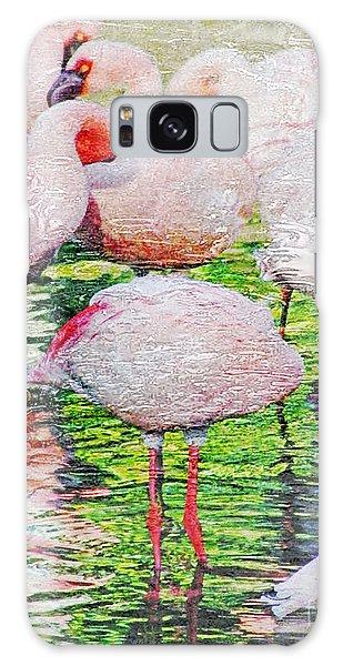 Rainy Day Flamingos 2 Galaxy Case