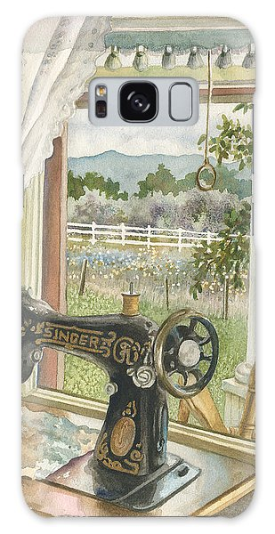 Rainy Day On The Old Farm Galaxy Case by Anne Gifford