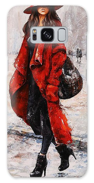 Rainy Day - Red And Black #2 Galaxy Case by Emerico Imre Toth