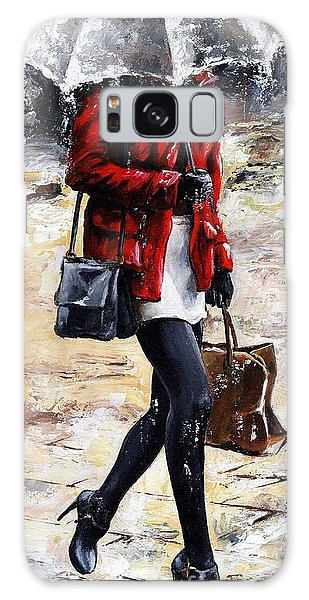 Rainy Day - Woman Of New York 09 Galaxy Case by Emerico Imre Toth