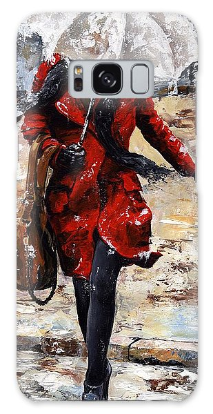 Rainy Day - Woman Of New York 10 Galaxy Case by Emerico Imre Toth