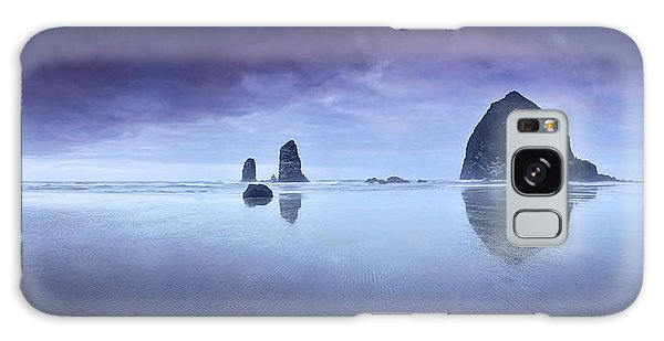 Rainy Sunset Over Cannon Beach Galaxy Case by Sebastien Coursol