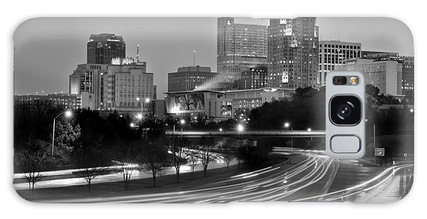 Raleigh Skyline At Dusk Evening Black And White Bw Evening Panorama North Carolina Nc Galaxy Case by Jon Holiday