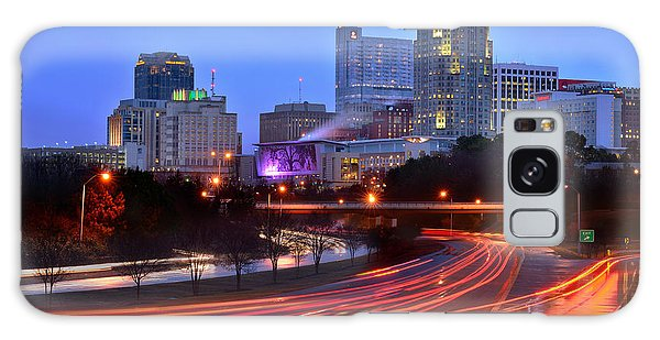 Raleigh Skyline At Dusk Evening Color Evening Panorama North Carolina Nc Galaxy Case by Jon Holiday
