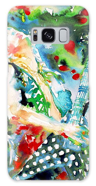 Randy Rhoads Playing The Guitar - Watercolor Portrait Galaxy Case