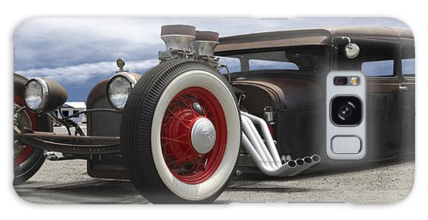 Street Cafe Galaxy Case - Rat Rod On Route 66 Panoramic by Mike McGlothlen