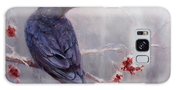 Raven In The Stillness - Black Bird Or Crow Resting In Winter Forest Galaxy Case