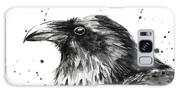 Crow Galaxy S8 Case - Raven Watercolor Portrait by Olga Shvartsur