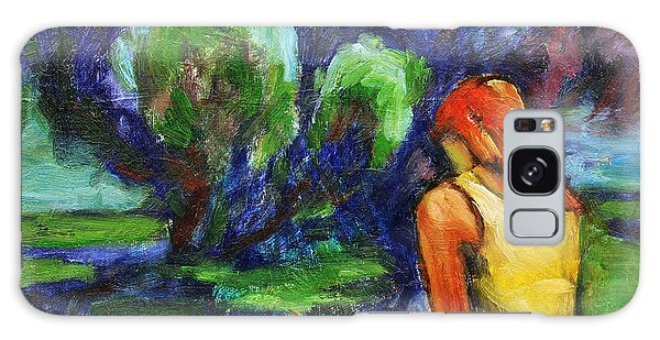 Galaxy Case featuring the painting Reading In A Park by Xueling Zou