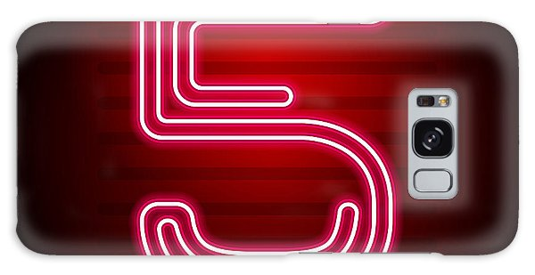Glow Galaxy Case - Realistic Red Neon Number. Number With by Oleg	 Vyshnevskyy