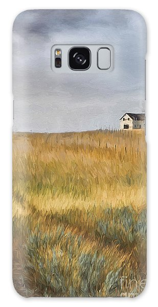 Galaxy Case featuring the photograph Old Farmhouse On The Hill/ Digital Painting by Sandra Cunningham