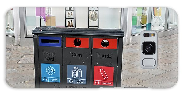 Rubbish Bin Galaxy Case - Recycling Bins In Front Of Fashion Shop by Robert Brook/science Photo Library