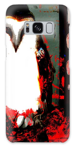 Red And Black Owl Art Galaxy Case