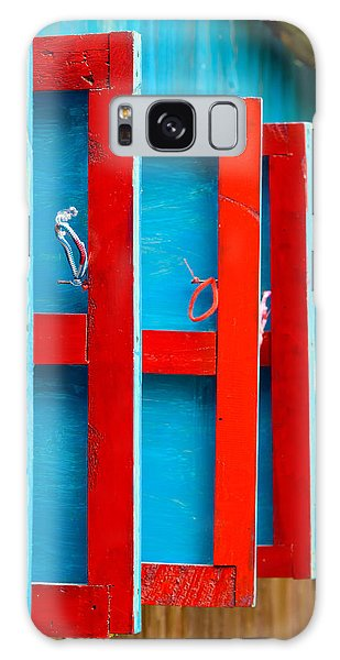 Red And Blue Wooden Shutters Galaxy Case