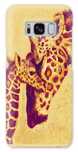 Red And Gold Giraffes Galaxy Case by Jane Schnetlage