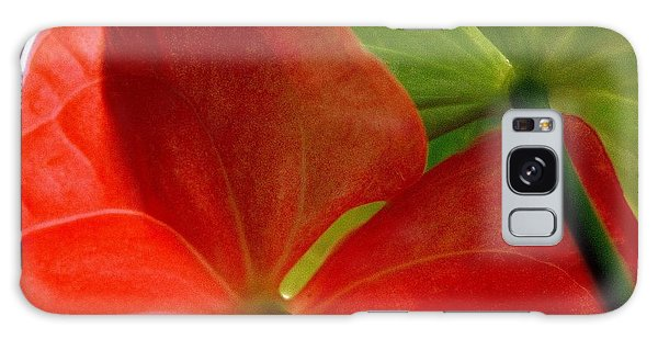 Red And Green Anthurium Galaxy Case by Ranjini Kandasamy