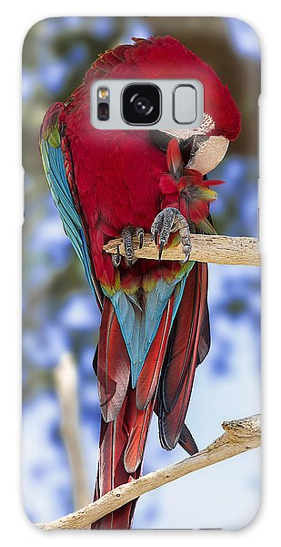 Macaw Galaxy Case - Red And Green Macaw by Bill Tiepelman