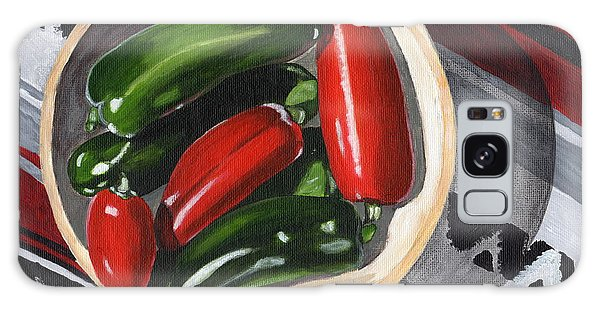 Red And Green Peppers Galaxy Case by Laura Forde