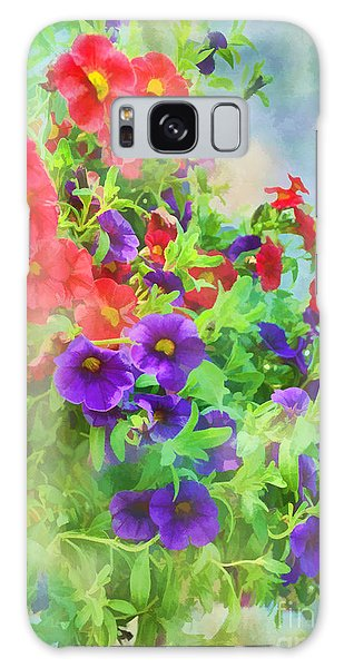 Red And Purple Calibrachoa - Digital Paint I Galaxy Case by Debbie Portwood