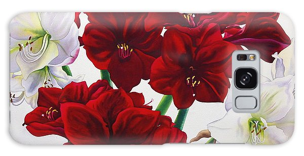 Amaryllis Galaxy Case - Red And White Amaryllis by Christopher Ryland