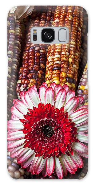 Indian Corn Galaxy Case - Red And White Mum With Indian Corn by Garry Gay