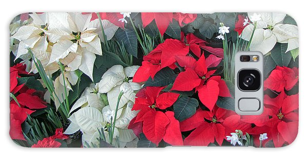 Red And White Poinsettias Galaxy Case