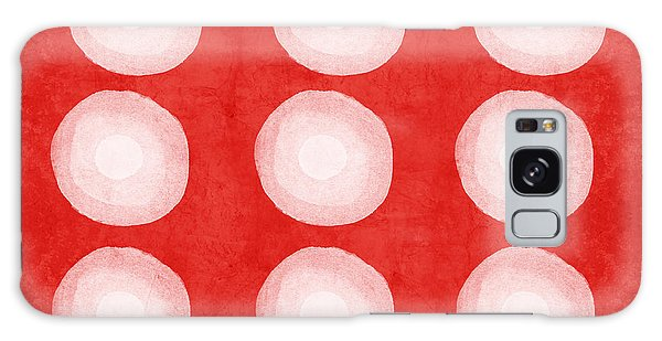 Galaxy Case - Red And White Shibori Circles by Linda Woods