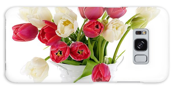 Metal Leaf Galaxy Case - Red And White Tulips by Elena Elisseeva