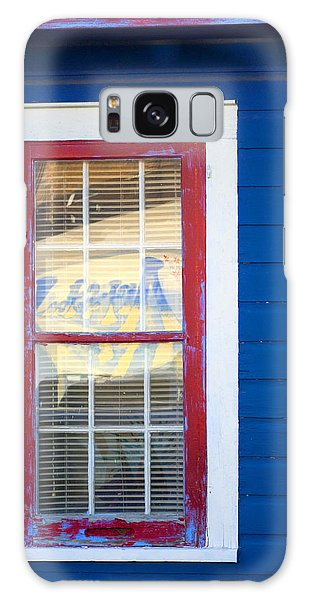 Red And White Window In Blue Wall Galaxy Case